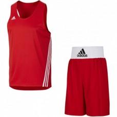 Форма для занятий боксом Adidas Base Punch (шорты + майка, красная, V14119/14110)