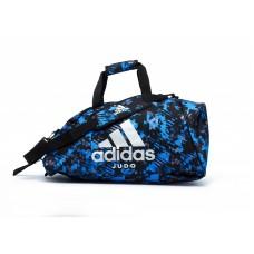 Сумка-рюкзак (2в1) с серебряным логотипом Adidas Judo (синий камуфляж, ADIACC058J)