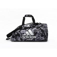 Сумка-рюкзак (2в1) с серебряным логотипом Adidas Judo (серый камуфляж, ADIACC058J)
