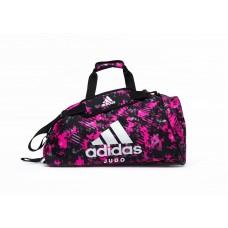 Сумка-рюкзак (2в1) с серебряным логотипом Adidas Judo (розовый камуфляж, ADIACC058J)