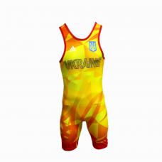 Костюм для борьбы (трико) Adidas UWW (желтый, 1633RED V1)