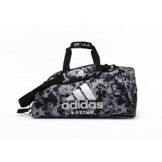 Сумка-рюкзак (2в1) с серебряным логотипом Adidas Boxing (серый камуфляж, ADIACC058B)