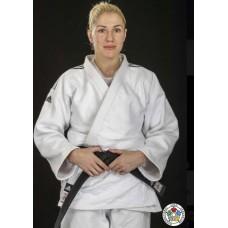 Кимоно для дзюдо Adidas Champion|| с лицензией IJF (белый/черные полосы, J750W)